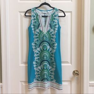 New York & Company Blue Green Paisley Dress